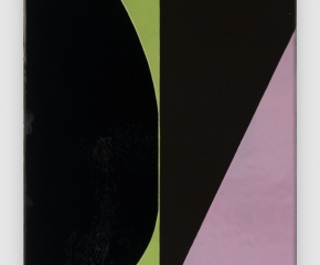 An abstract composition of large black shapes on top of pink, green, and gray color blocks, slightly shiny