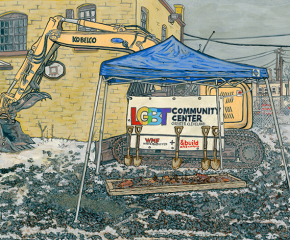 Drawing of construction site of LGBT Community Center featuring shovels, a backhoe and a pop-up tent