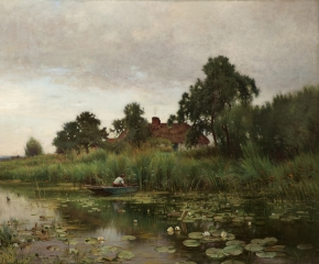 Ernest Parton (1845–1933), The Lily Pond, 1891, oil on canvas, 42 x 60 1/8 in. (detail)