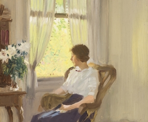 Edward Dufner (1871–1957), By the Window, c. 1911–17, oil on board, 9 3/4 x 7 3/4 in. (detail)
