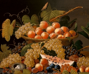 Severin Roesen (1816–c. 1872), Still Life with Fruit and a Bird's Nest, c. 1871, oil on canvas, 30 x 40 in. (detail)