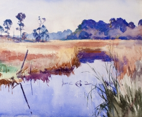 Colorful watercolor by Frank W. Benson of a river in Alabama (detail).