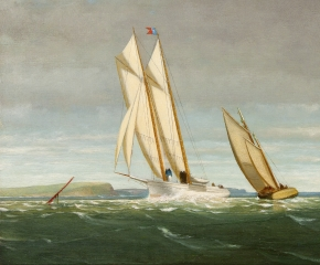George Curtis (1816–1881), Sailing off the Coast, 1878, oil on panel, 11 ½ x 20 in. (detail)