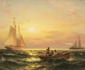 Edward Moran (1829-1901), Shipping at Sunset, oil on canvas, 11 1/4 x 19 1/4 in. (detail)
