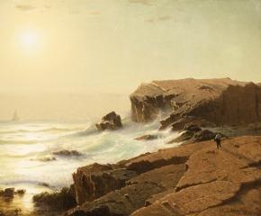 William Stanley Haseltine (1835–1900), Sunrise at Narragansett, Rhode Island, 1863, oil on canvas, 18 1/4 x 31 3/4 in. (detail)