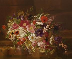 Adelheid Dietrich (1827–1891), Still Life with Flowers, 1869, oil on board, 13 3/4 x 17 in. (detail)