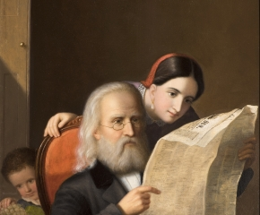 An intimate family scene executed c. 1852 by Hans Heinrich Bebie showing an elderly man reading the newspaper with his daughter and grandchildren (detail).