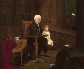 Charles Caleb Ward (1831–1896), The Lesson, 1875, oil on board, 10 x 7 7/8 in. (detail)
