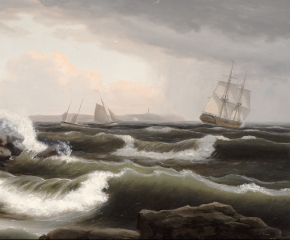 A stormy seascape off the coast of Maine by Thomas Birch (detail).