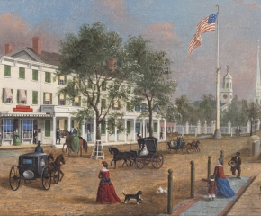 John Evers, Jr. (1794–1884). Northeast Corner, Front Street, Hempstead, New York, 1870. Oil on canvas. 12 x 17 in. (detail)