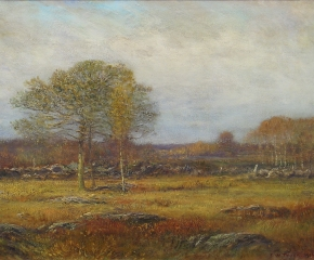 Dwight William Tryon (1849–1925), Autumn Fields, 1914-15, oil on panel, 16 x 24 in. (detail)