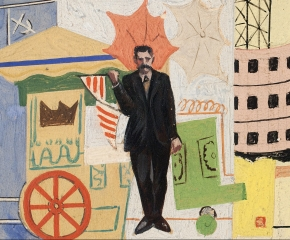 Francis Criss (1901–1973), Mural Study, c. 1930s,, oil on artist board, 4 x 7 in. (detail)