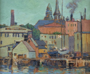 Harriet Randall Lumis (1870–1953), Gloucester Wharf, c. 1920, oil on canvas, 12 x 10 in. (detail), colorful scene of buildings and boats on the docks of Gloucester, Massachusetts