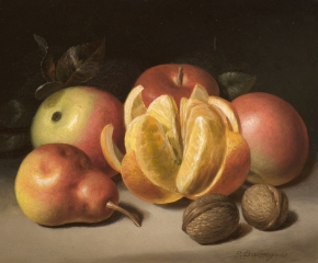 Peter Baumgras (1827–1903), Still Life: Apples, Orange, Pear and Nuts, c. 1860, 8 x 10 in. (detail)