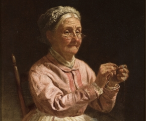 Thomas Waterman Wood (1823-1903), Threading a Needle, oil on canvas, 10 x 12 in. (detail)