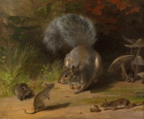 William Holbrook Beard (1824–1900), Squirrel and Mice, 1859. Oil on canvas. 14 1/8 x 16 1/8 in. (detail)