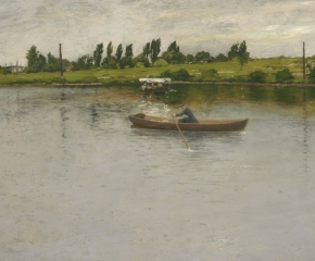 William Merritt Chase (1849–1916), Pulling for Shore, c. 1886, oil on panel, 17 3/4 x 30 in. (detail), woman rowing on a lake