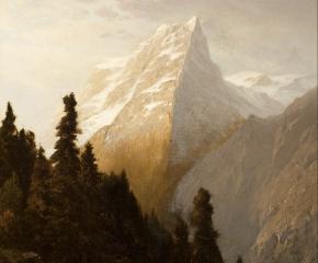 John William Casilear (1811–1893), Alpine Scenery, 1873, oil on canvas, 13 x 11 in. (detail)