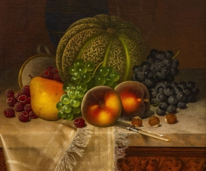 William Mason Brown (1828–1898), Still Life with Fruits, Samovar and Teacup, c. 1875, oil on canvas, 20 x 16 in. (detail)