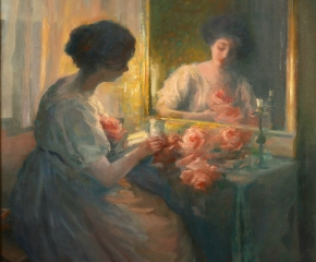 Hallie Elizabeth Champlin-Hyde (1880–1935). The Floral Gift (The Love Letter), 1910. Oil on canvas. 40 x 32 in. (detail)