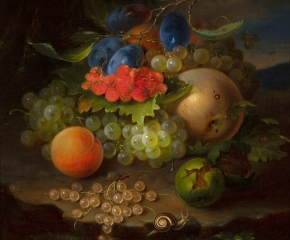 George Forster (1817–1896), Still Life of Fruit with Snail, 1861, oil on canvas, 14 5/8 x 11 7/8 in. (detail)