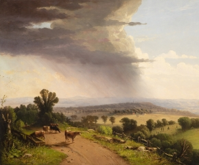 John Williamson (1826–1885), Passing Shower, Upper Valley of the Connecticut River, 1870, oil on canvas, 27 1/8 x 40 in. (detail)