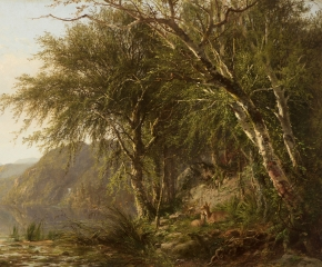 James M. Hart (1828–1901), View of Lake Placid, 1862, oil on canvas, 17 1/2 x 30 in. (detail)