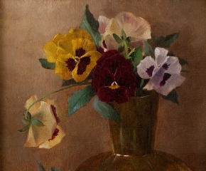 Claude Raguet Hirst (1855–1942) Pansies in a Glass Vase, c. 1882. Oil on canvas, 12 x 9 in. (detail)