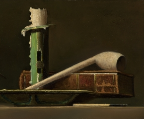 John F. Peto (1854–1907), Still Life with Green Candlestick and Book, c. 1890, oil on panel, 6 x 9 in. (detail)