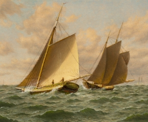 William M. Davis (1829–1920), Schooners at Sea: A Close Shave, oil on canvasboard, 12 x 14 in. (detail)