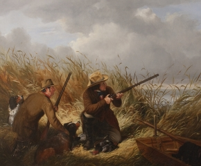 Arthur Fitzwilliam Tait (1819–1905), Duck Shooting Over Decoys, 1854. Oil on canvas. 30 x 43 in. (detail)