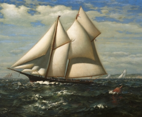 James Gale Tyler (1855–1931), The Yacht, Water Witch c. 1890, oil on canvas, 18 x 30 in. (detail)