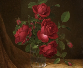 Martin Johnson Heade (1819–1904), Four Roses in a Glass, c. 1883–190, oil on canvas, 22 x 14 in. (detail)