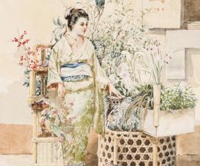 Albert Herter (1871–1950), A Japanese Woman, 1889, watercolor on paper, 9 x 6 ½ in. (detail)