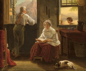 John Carlin (1813–1891), Sunday Afternoon, 1859, oil on canvas, 14 x 12 in. (detail)