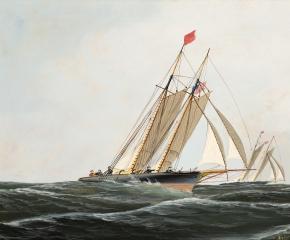Antonio Jacobsen (1850–1921), The Yacht Race, 1874, oil on board, 9 1/2 x 14 1/4 in. (detail)