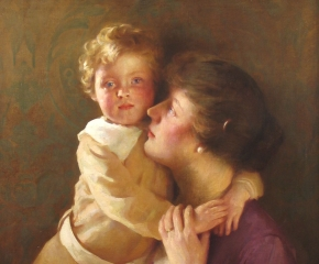 William Henry Cotton (1885–1958) Sonny: Portrait of the Artist's Wife and Son. Oil on canvas. 30 1/4 x 25 1/4 in. (detail)