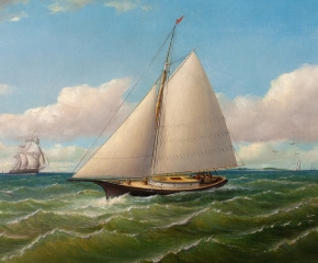 Charles H. Gifford (1839–1904), Ships Off Gay Head, 1867, oil on canvas, 17 x 26 1/2 in. (detail)