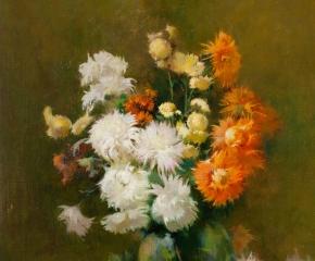 Søren Emil Carlsen (1853–1932), Chrysanthemums, 1898, oil on canvas, 24 x 20 in. (detail)
