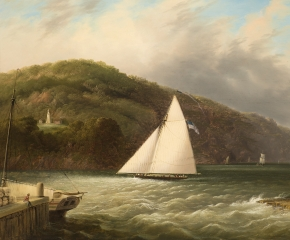 Edmund C. Coates (1816–1871), Yachting on the Hudson, 1863, oil on canvas, 24 x 34 in. (detail)