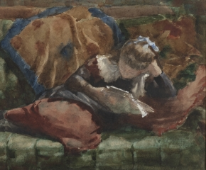 Charles Yardley Turner (1850–1918). Girl Reading, 1882. Watercolor on paper, 6 3/4 x 9 1/2 in. (detail)