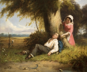 William Sanford Mason (1824-1864), Caught Napping, 1857, oil on canvas, 20 x 24 1/4 in. (detail)