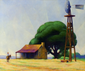 Ralph D. McLellan (1884–1977), Rider on the Ranch, San Marcos, Texas, 1928, oil on canvas, 30 x 36 in.
