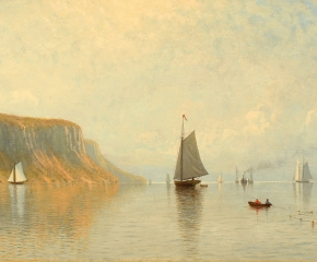 Thomas W. Marshall (1850-1874), Hudson River Near Hastings, 1872, oil on canvas, 18 x 36 in. (detail)