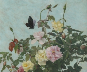 George Cochran Lambdin (1830–1896). Roses with Butterfly. Oil on canvas. 24 x 18 in. (detail)