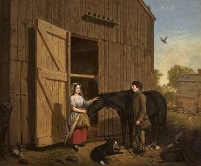 Jerome Thompson (1814–1886), The Rustic Chat, 1850, oil on canvas, 25 x 30 in.