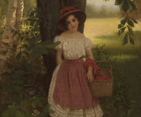 John George Brown (1831–1913)  The Berry Picker, 1864. Oil on canvas. 14 13/16 x 10 in. (detail). A young girl wearing a white dress and apron resting under a tree.