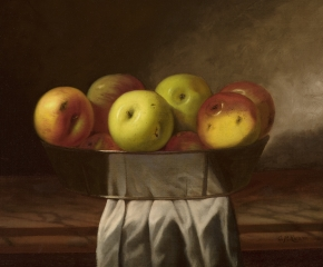 Cadurcis P. Ream (1837–1917), Still Life with Apples, c. 1870, oil on canvas, 16 x 20 in. (detail)