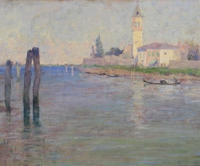 Guy Rose (1867–1925), The Gondolier, Venice, oil on canvas, 12 1/2 x 18 in. (detail)