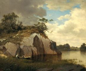David Johnson (1827–1908), Catnip Island near Greenwich, Connecticut, 1878-79, oil on canvas, 22 x 34 in. (detail)